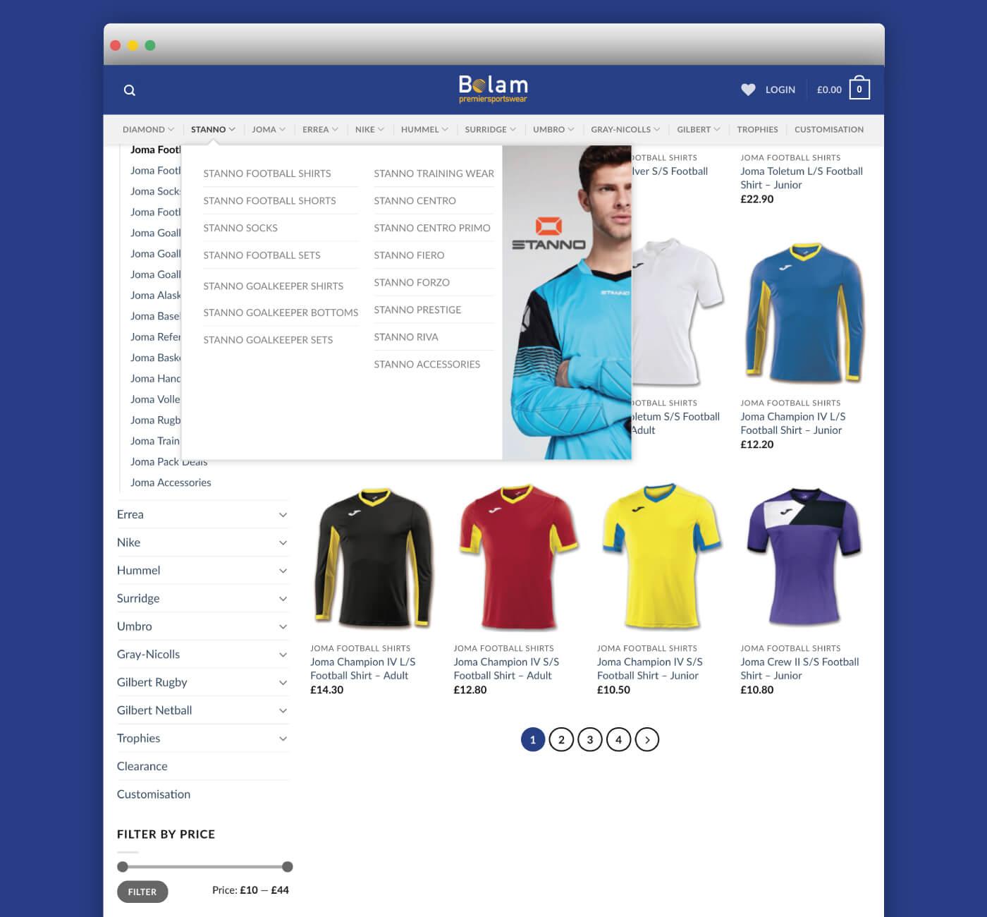 Bolam Premier Sportswear Mega Menu