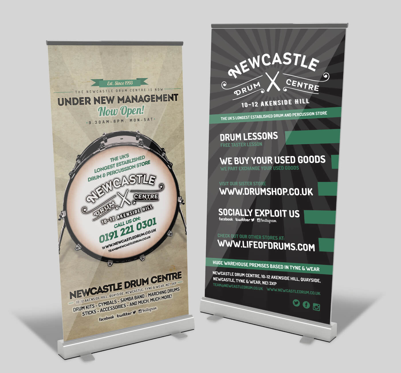 Newcastle Drum Centre Roll Banner